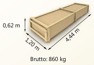 Wymiary paczki szerokość 120cm długość 444cm wysokość 62cm waga 860kg