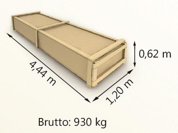 Wymiary paczki szerokość 120cm długość 444cm wysokość 62cm waga 930kg