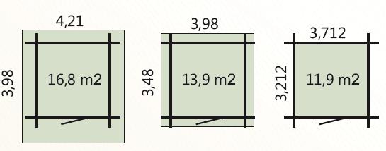 wymiary podłoga 12m2 zewnetrzne domku 14m2 dachu 16,8m2