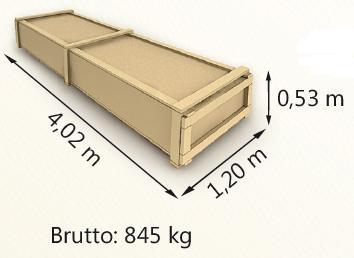 Wymiary paczki szerokość 120cm długość 402cm wysokość 53cm waga 845kg