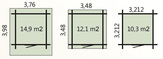 wymiary podłoga 10m2 zewnetrzne domku 12m2 dachu 15m2