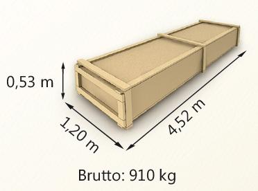 Wymiary paczki szerokość 120cm długość 452cm wysokość 53cm waga 910kg