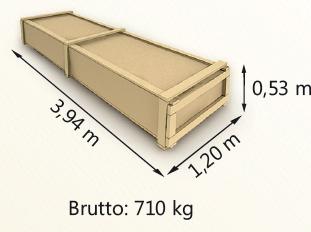 Wymiary paczki szerokość 120cm długość 394cm wysokość 53cm waga 710kg