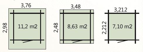 wymiary podłoga 7m2 zewnetrzne domku 8,63m2 dachu 11,2m2