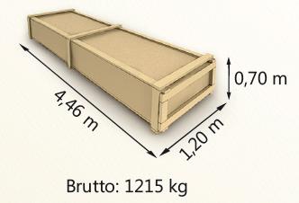 Wymiary paczki szerokość 120cm długość 446cm wysokość 70cm waga 1215kg