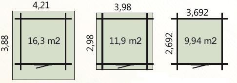 wymiary podłoga 9,94m2 zewnetrzne domku 12m2 dachu 16,3m2