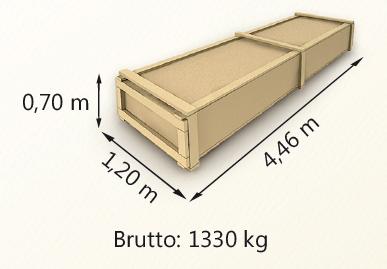 Wymiary paczki szerokość 120cm długość 446cm wysokość 70cm waga 1330kg