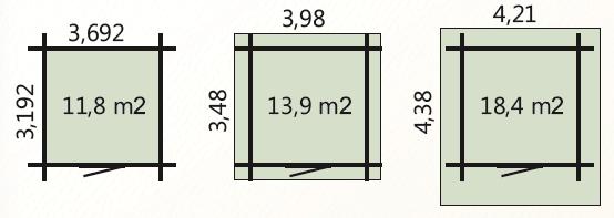 Wymiary podłoga 11,8m2 zewnetrzne domku 14m2 dachu 18,4m2
