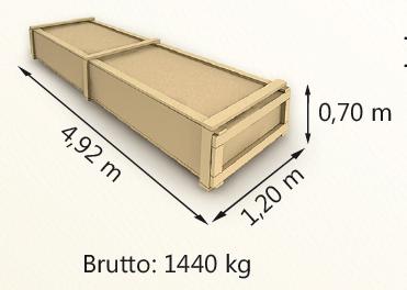 Wymiary paczki szerokość 120cm długość 492cm wysokość 70cm waga 1440kg