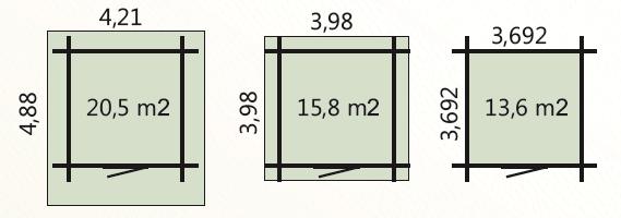 Wymiary podłoga 13,6m2 zewnetrzne domku 15,8m2 dachu 20,5m2